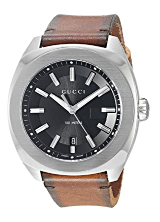 ff2ca69c5c3 Gucci Swiss Quartz Stainless Steel and Leather Dress Brown Men s Watch(Model   YA142207)