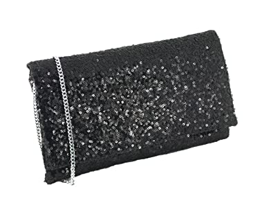 Loni Sparkly Sequin Party Evening Clutch Shoulder Bag in Black ...