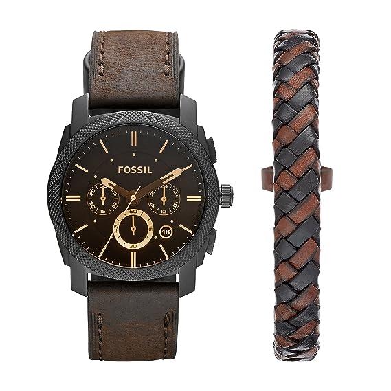 Fossil Machine - Reloj (Reloj de Pulsera, Masculino, Acero Inoxidable, Marrón,