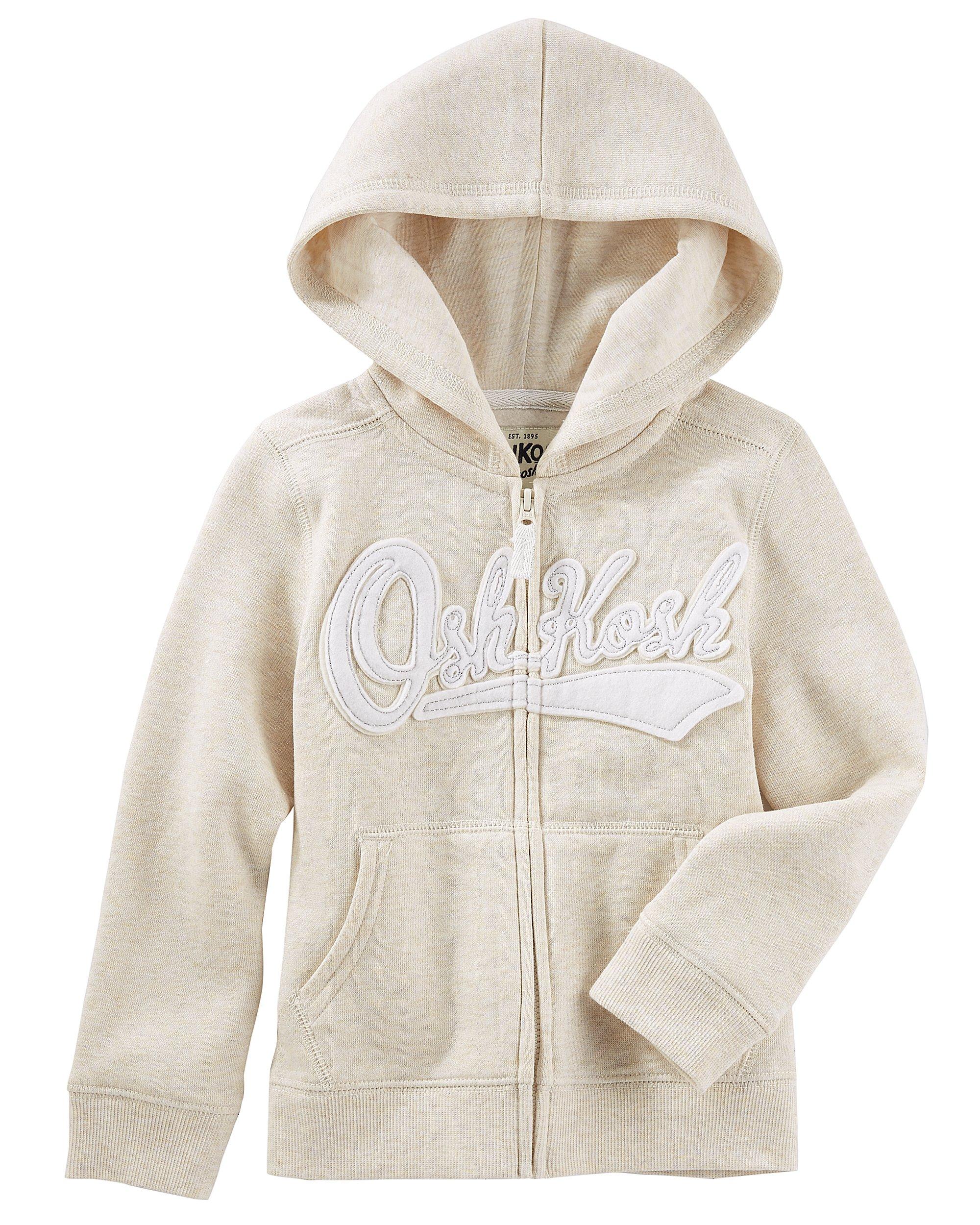 Osh Kosh Girls' Toddler Full Zip Logo Hoodie, Oatmeal Heather, 3T