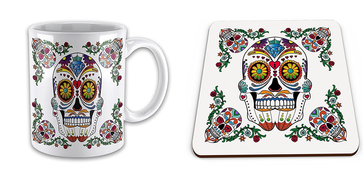 Set of Day Of The Dead - Sugar Skull Novelty Gift Mug with Coaster UCG