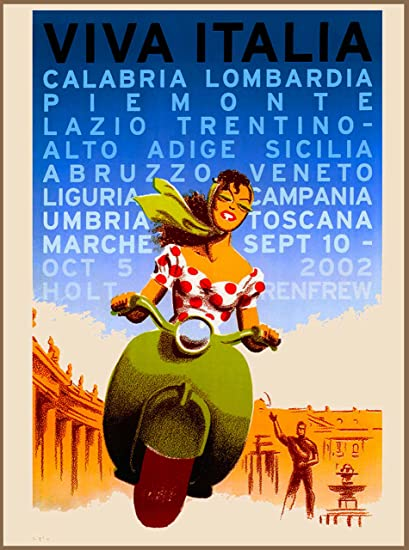 Viva Italia Girl On Vespa Italy Italian European Europe Travel Advertisement Art Collectible Wall Decor Poster