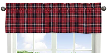 Sweet Jojo Designs Sweet Jojo Designs Red and Black Woodland Plaid Flannel Window Treatment Valance for Rustic Patch Collection