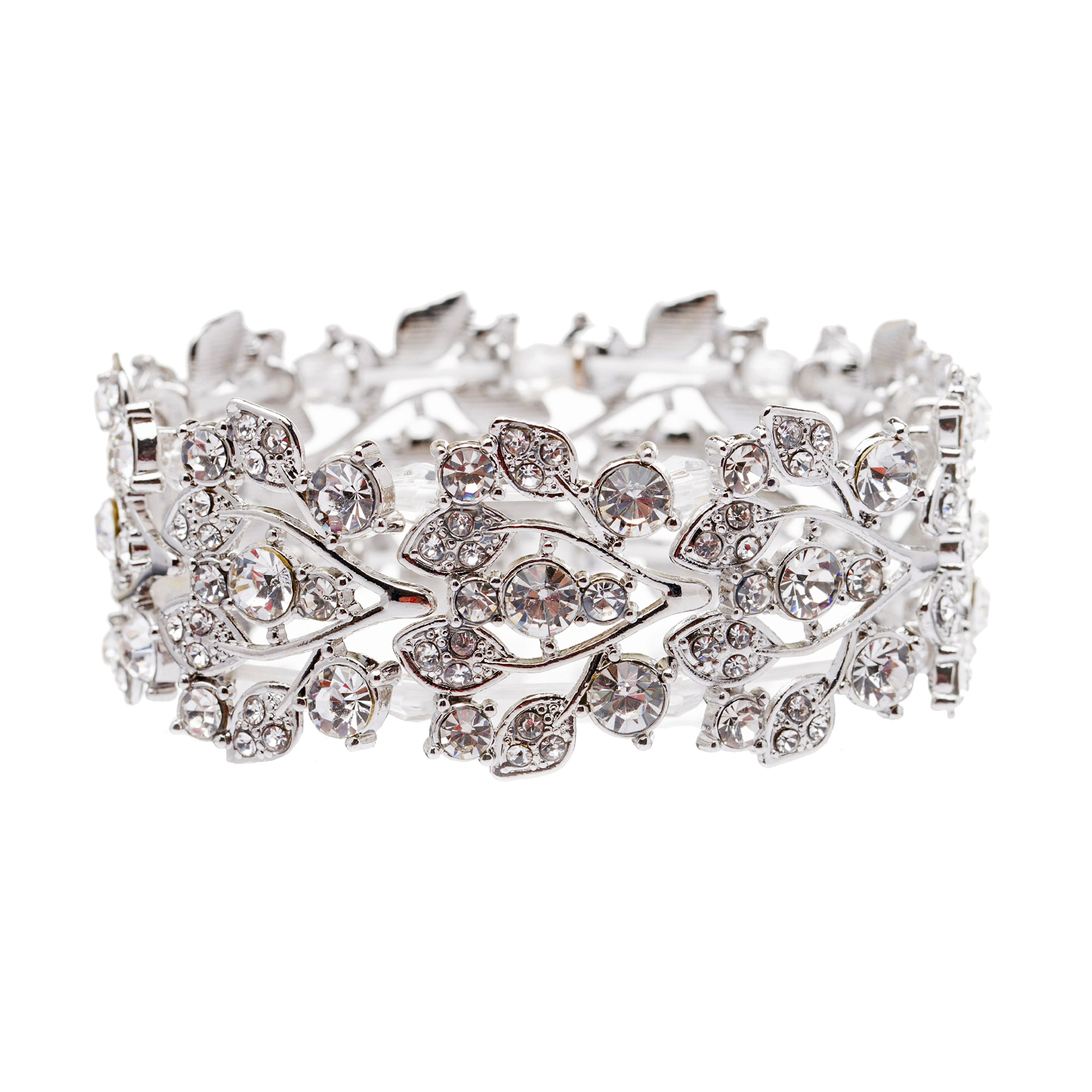 ACCESSORIESFOREVER Bridal Jewelry Crystal Rhinestone Floral Leaf Vine Stretch Bracelet Silver Clear by Accessoriesforever (Image #1)