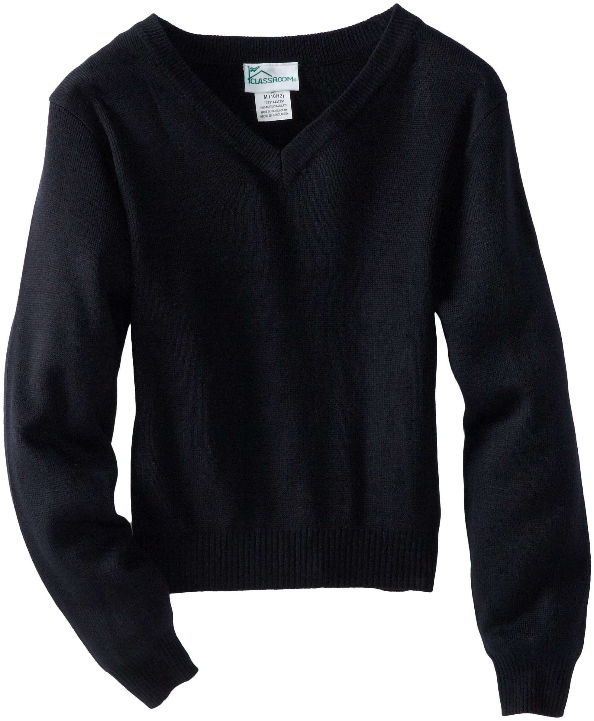 CLASSROOM Big Boys' Uniform Long Sleeve V-Neck Sweater, Black, Large