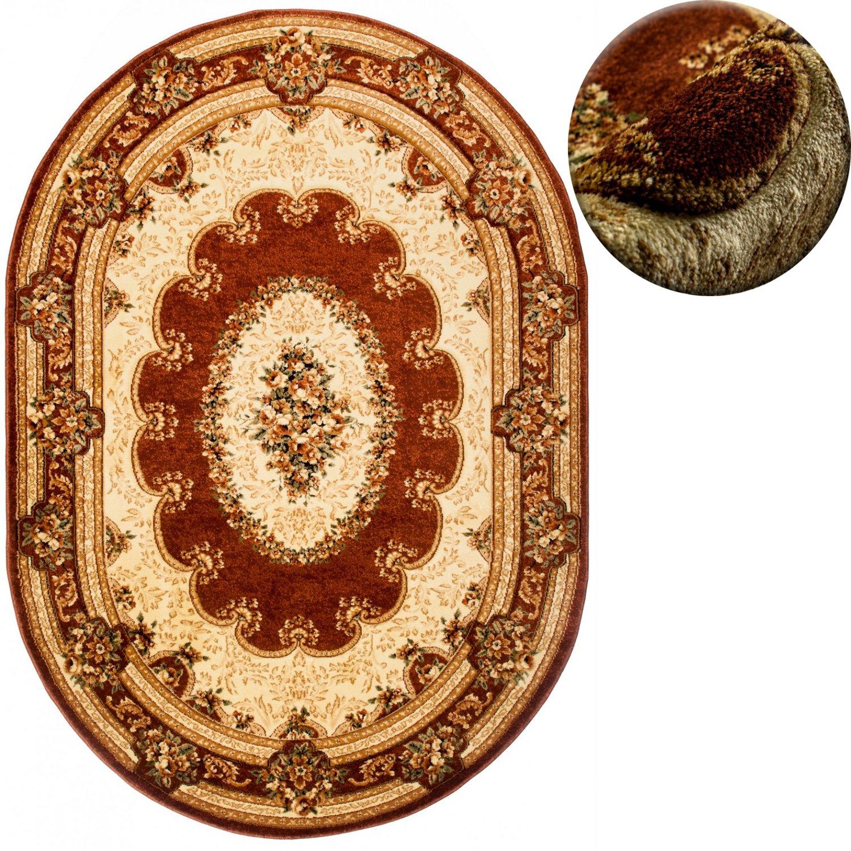 Carpeto Teppich OVAL Klassisch Orientalisch Ornamente Muster 3D-Effekt 3D-Effekt 3D-Effekt Konturenschnitt (140 x 190 cm, Braun) de0e88