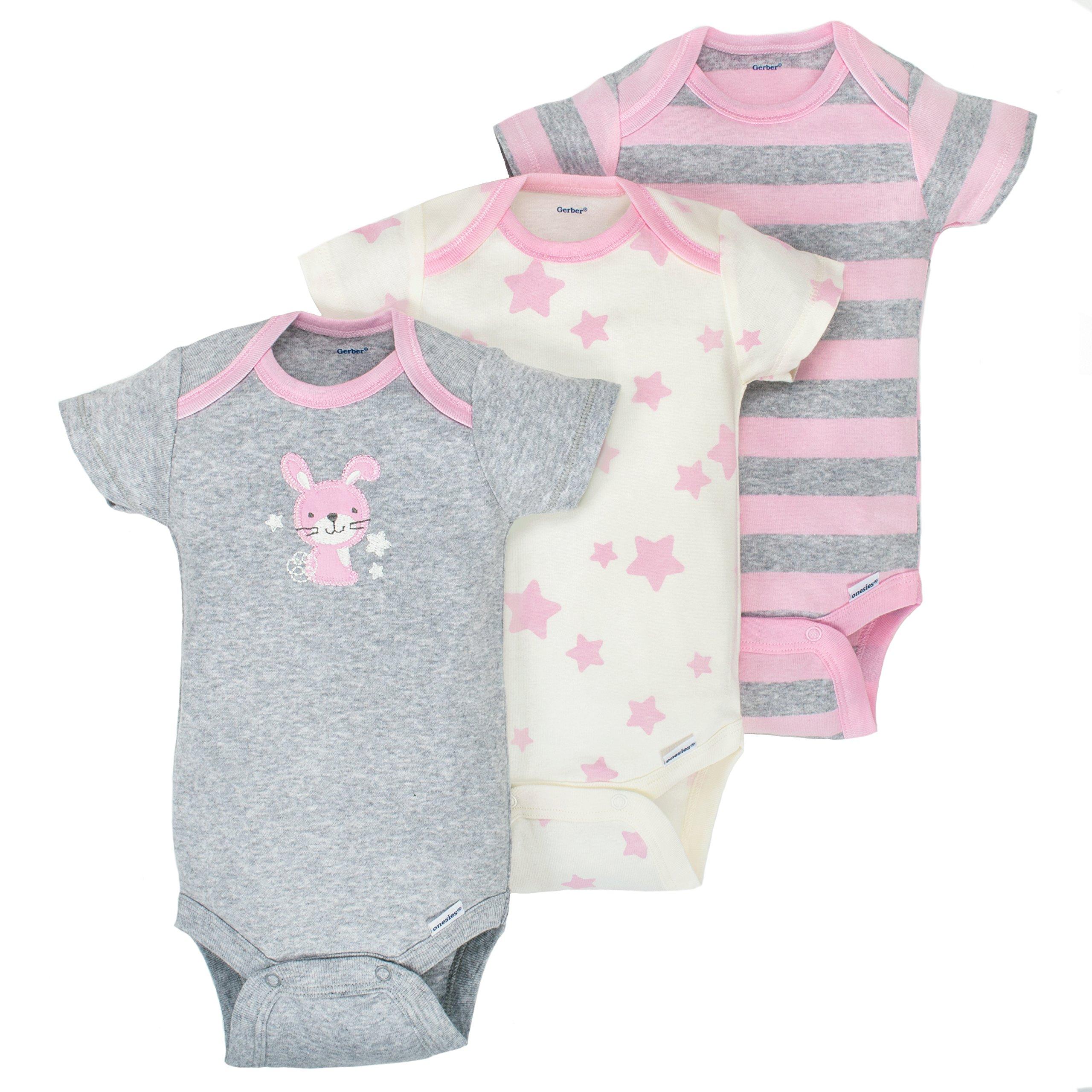 Gerber Baby Girls 3 Pack Organic Short Sleeve Onesies Brand Bodysuit, Gray/Light Pink, 0-3 Months