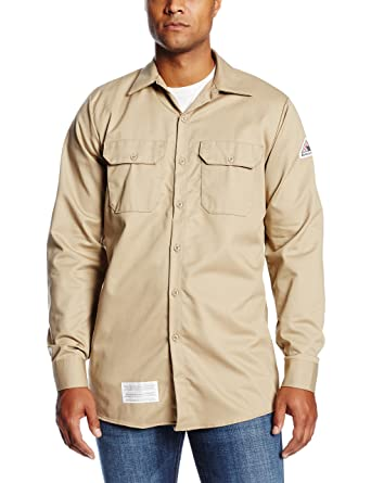 dfbb21a4882 Bulwark Men s Flame Resistant 7 oz Cotton Work Shirt with Sleeve Vent