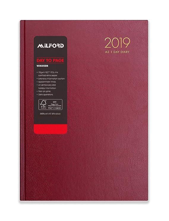 Milford 2019 - Agenda de escritorio con citas, A5, día a página, de enero a diciembre, color granate A5