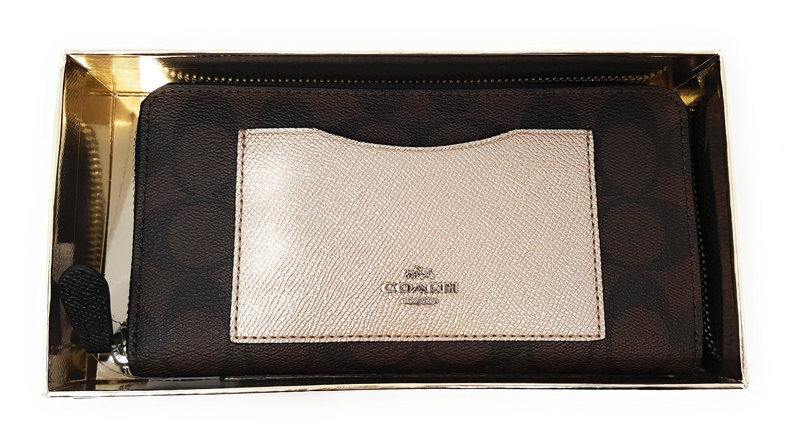 Coach Gift Box Signature PVC Accordion Zip Wallet Brown/Black Platinum