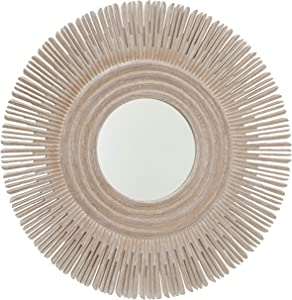 WHW Whole House Worlds Large Modern Sunburst Mirror, White Washed Wood, Brilliant Inset Circular Mirror, 35.5 Inches Diameter, Home Decor
