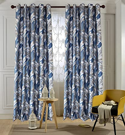 blue and grey curtains Amazon.com: Navy Blue/Grey Leaf Curtains   Anady Top Flowers  blue and grey curtains