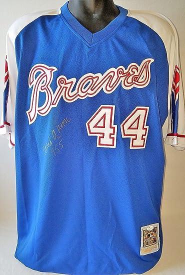 """152eff03 Hank Aaron""""755"""" Signed Mitchell & Ness 1974 Braves Jersey Steiner  & #Z01071"""