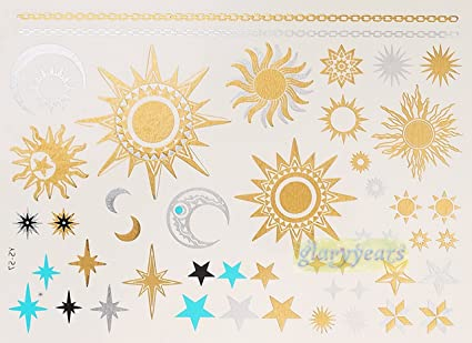 Amazon Com Ys 57 Flash Metallic Gold Silver Henna Sun Moon Star
