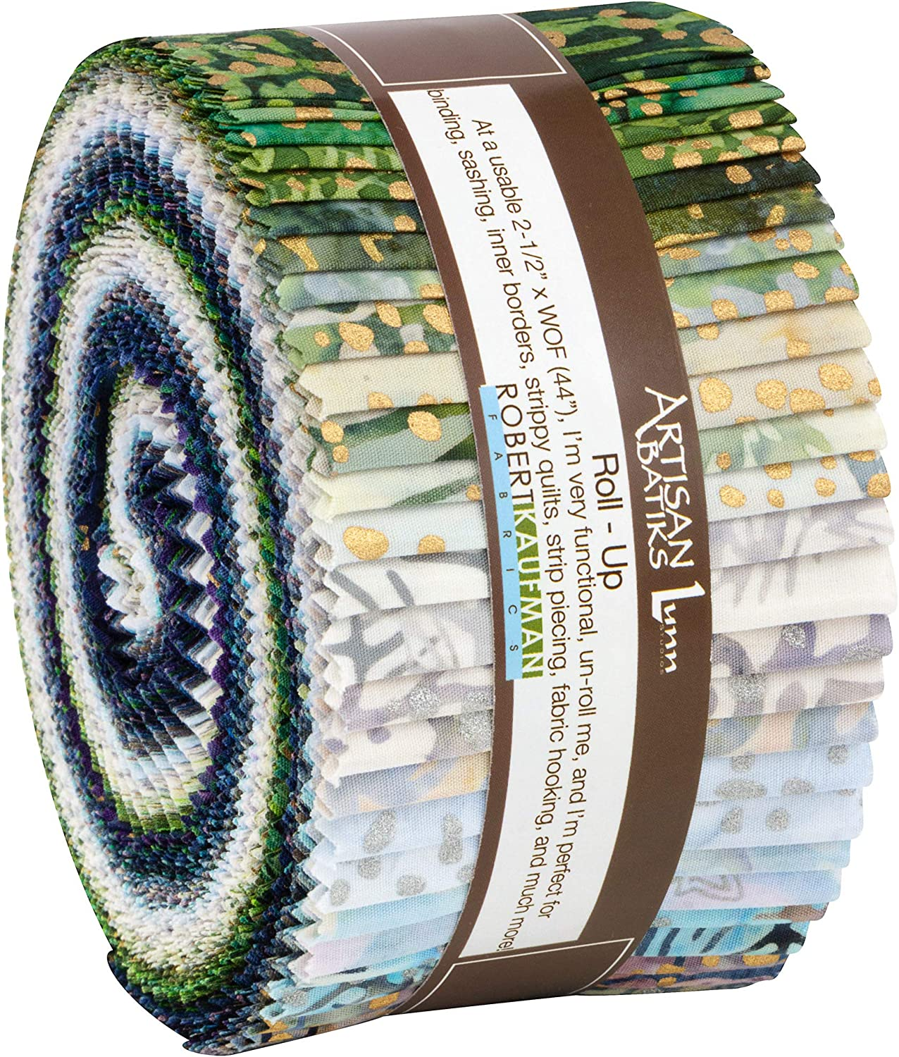 "Lunn Studios Artisan Batiks Twilight Snowfall Roll Up 40 2.5"" Strips Jelly Roll Kaufman RU-914-40"