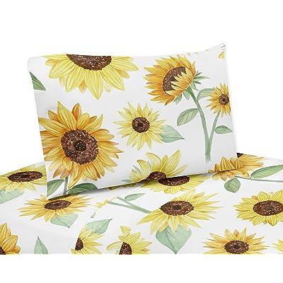 Sweet Jojo Designs Yellow, Green and White Sunflower Boho Floral Twin Sheet Set - 3 Piece Set - Farmhouse Watercolor Flower: Baby