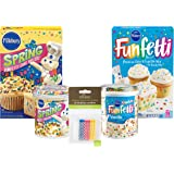 Pillsbury Funfetti Confetti and Funfetti Spring Cake Mixes and Frosting, Variety Pack of 4, Happy Birthday Baking Box Set With Candles