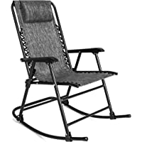 Best Choice Products Foldable Zero Gravity Rocking Patio Recliner Chair (Gray)