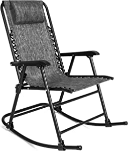 Best Choice Products Foldable Zero Gravity Rocking Patio Recliner Lounge Chair w/ Headrest Pillow - Gray
