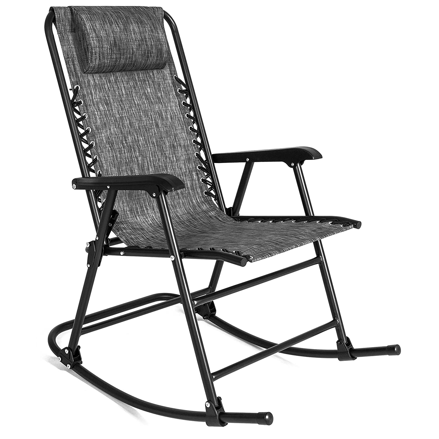 Best Choice Products Foldable Zero Gravity Rocking Mesh Patio Recliner Chair w Headrest Pillow, Gray