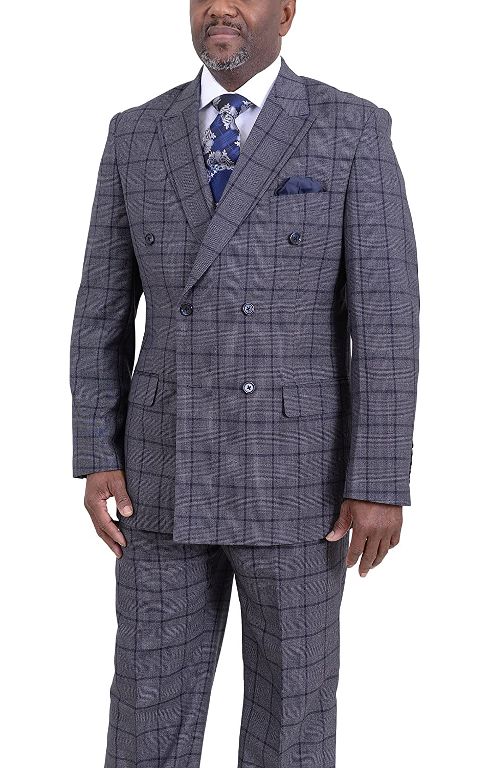 f9aa0f1579def Steven Land Classic Fit Gray Plaid with Blue Windowpane Double Breasted Suit  at Amazon Men s Clothing store