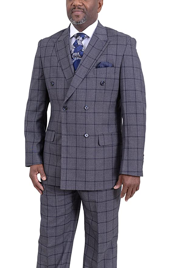 Men's Vintage Style Suits, Classic Suits Steven Land Classic Fit Gray Plaid With Blue Windowpane Double Breasted Suit $219.00 AT vintagedancer.com