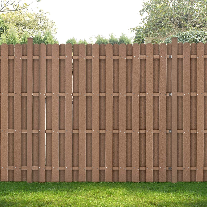 Neu Holz Wpc Gartenzaun 185x193cm Braun Sichtschutz Windschutz