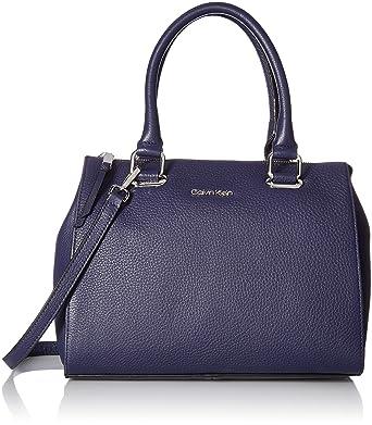Amazon.com  Calvin Klein womens Calvin Klein Halle Pebble Leather Top Zip  Key Item Satchel a6b9955651609