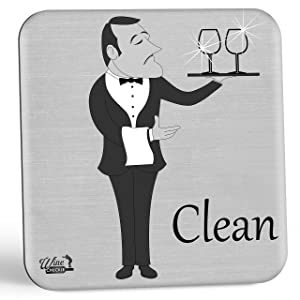 Dish Butler Dishwasher Magnet Sign - A Fun & Stylish Clean Dirty Dishwasher Sign Gift with 2 Different Fun Sides for Wine Lovers to Eliminate Dish Mix-ups Forever