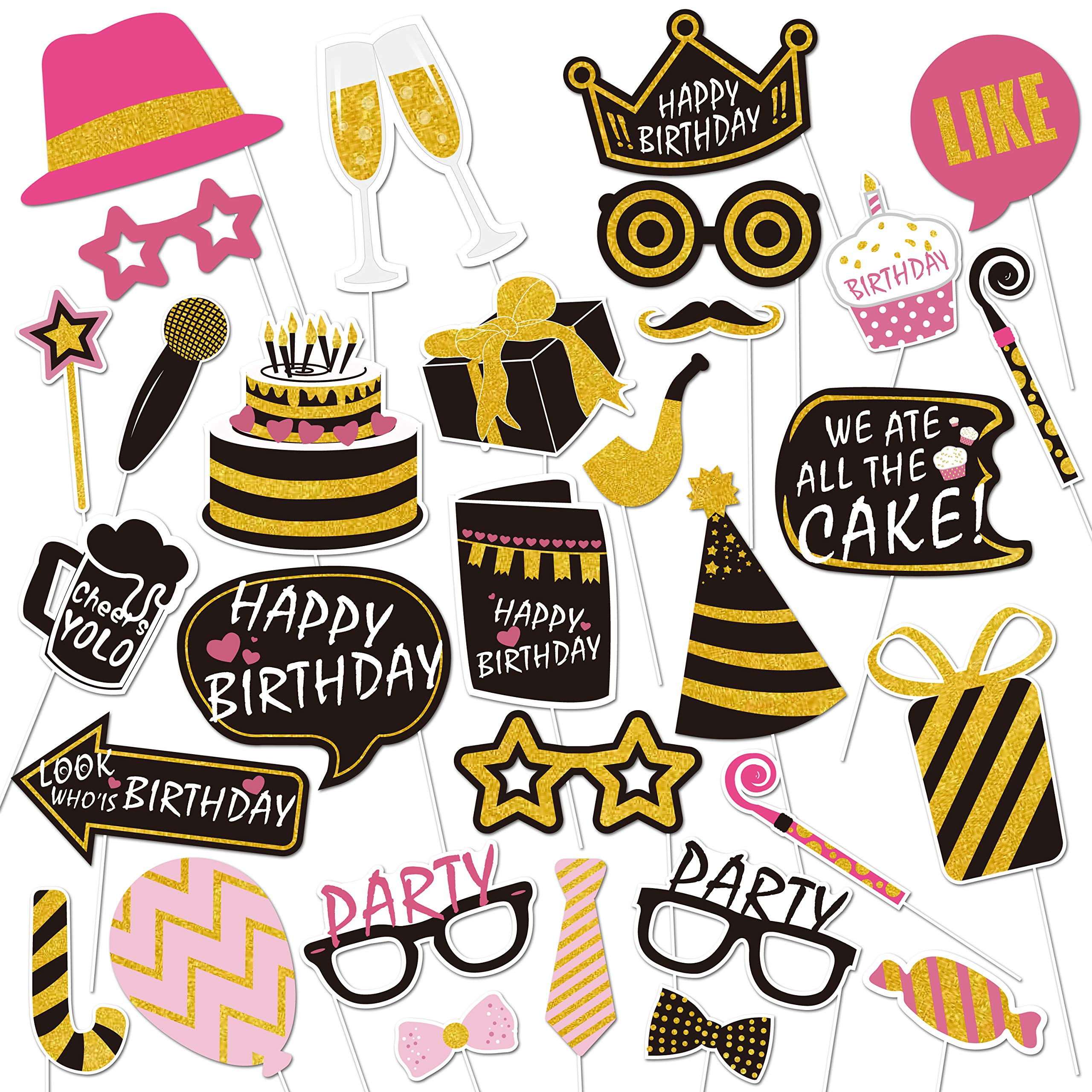 30th Birthday Photo Booth Props(51pcs) –Photography Black And Gold Pink Décor 40th Birthday Party Supplies for Men and Women by Lucky Party