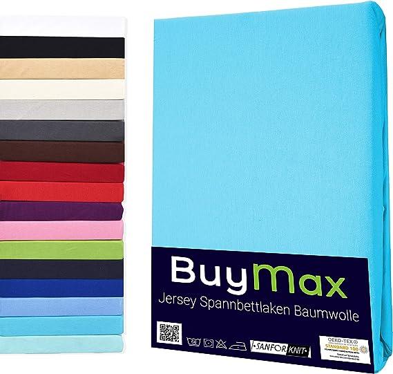 Imagen deJersey-Sábana bajera ajustable (100% algodón, 5tamaños y muchos colores, certificado Öko-Tex), algodón, turquesa, 120 x 200 cm