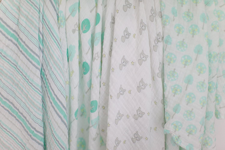 SwaddleDesigns Maxi Langes Mousseline de Coton Set de 4 Bois Vert