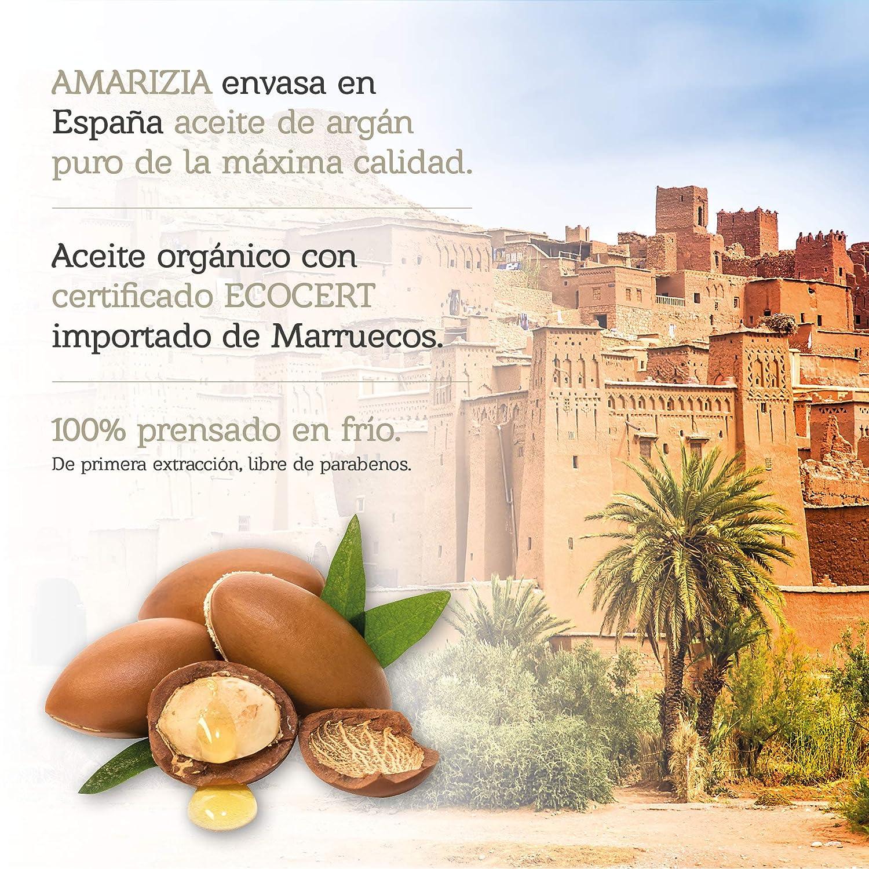 Aceite de Argán Puro de Marruecos / 100% Orgánico y prensado en frío/Hidratante para el pelo, piel, cara, barba y uñas/Anti-edad y antiarrugas/Envase ...