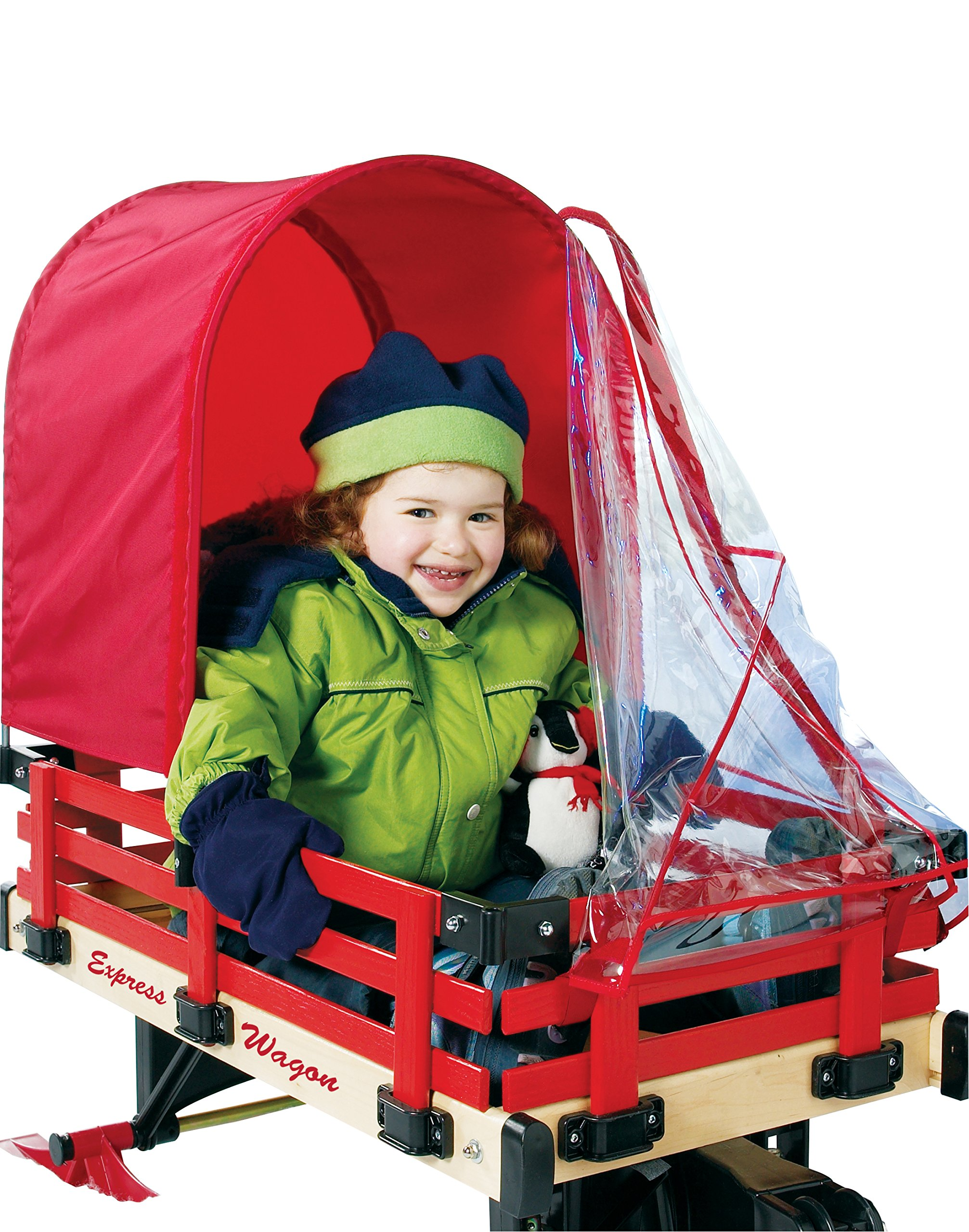 Millside Red Half Canopy with Removable Clear Weather Shield for 16 Inch x 34 Inch Wagon