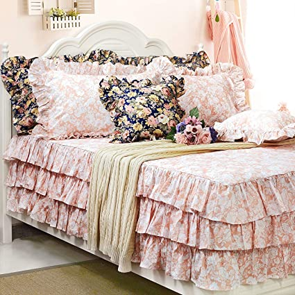 Amazon.com: Brandream Ruffle Blush Pink Bedding Girls Pink Bed Skirt ...