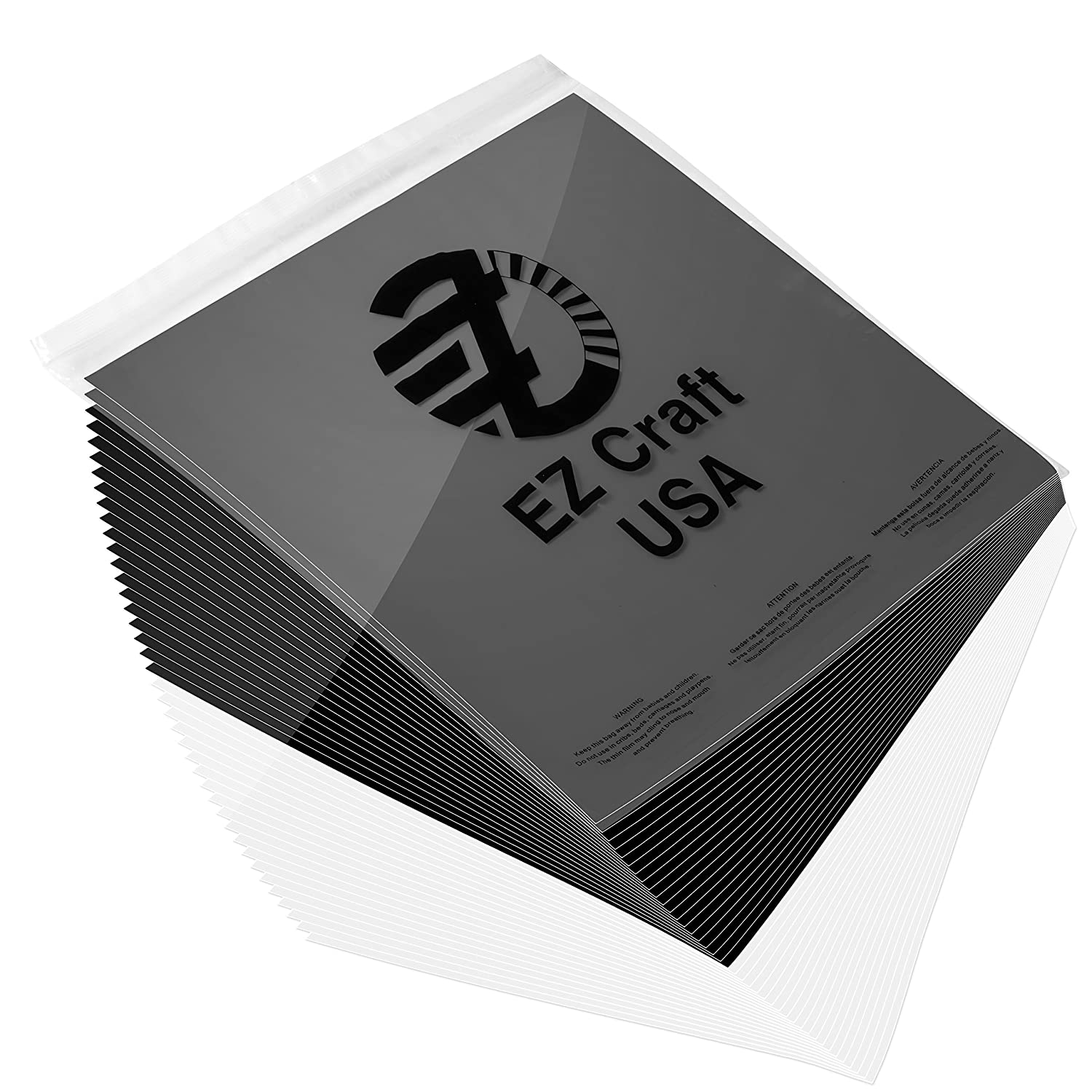 """Permanent Adhesive Backed Glossy Vinyl Sheets by EZ Craft USA 12/"""" x 12/"""" 40 Glossy Black and White Sheets Works with Cricut and Other Cutters"""