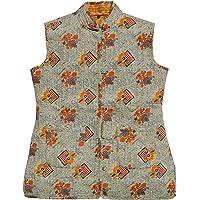 London Gramar Everva Women Jaipuri Block Print Quilted Reversible Jacket, Lightweight Ethnic Jaipuri Jacket