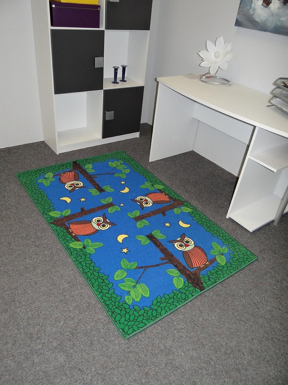Kinderteppich Spielteppich Eulen bei Nacht Eulenteppich Velours blau 140 x 200 cm