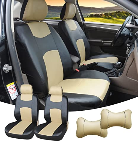 Amazon Com 515905 Black Tan Leather Like 2 Front Car Seat Covers