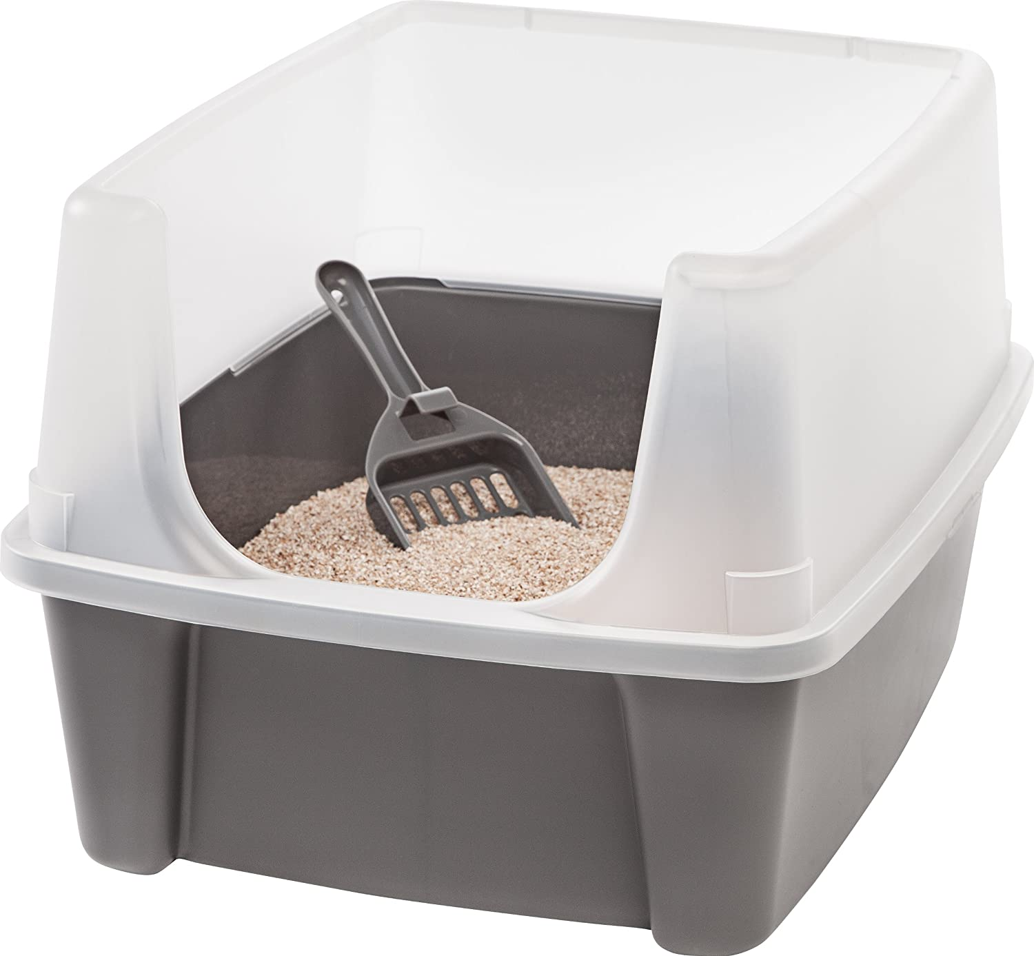 Amazon.com: IRIS Open Top Cat Litter Box Kit with Shield and Scoop, Gray:  Pet Supplies