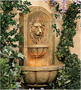 "John Timberland Lion Head Roman Outdoor Wall Water Fountain with Light LED 29 1/2"" High 2 Tiered for Yard Garden Patio Deck Home"