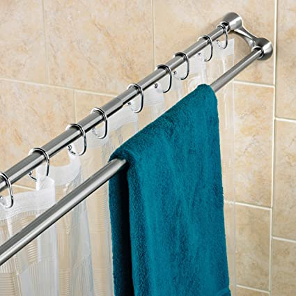 Polder Duo Shower Curtain Rod,Brushed Stainless Steel