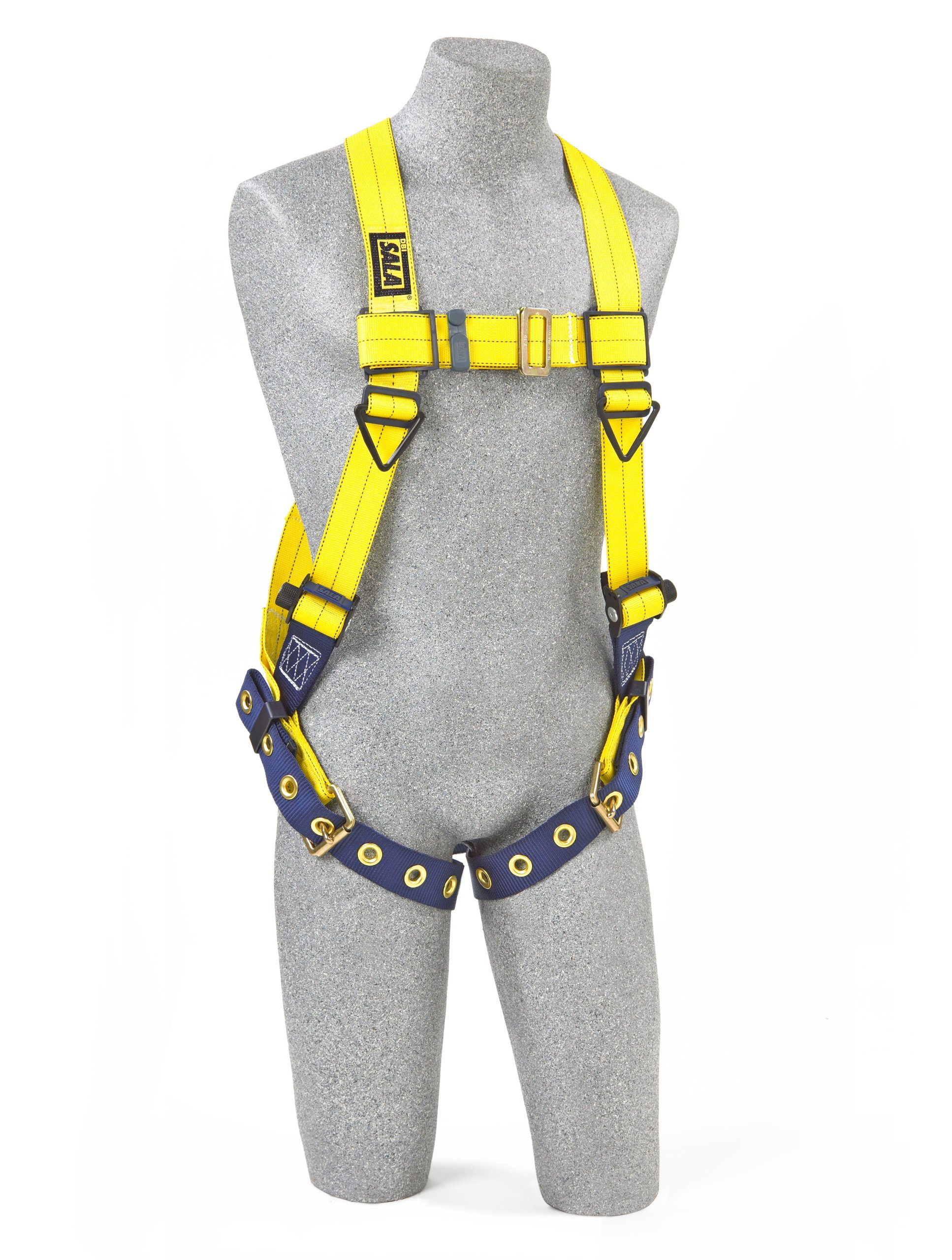 3M DBI-SALA Delta 1102000 Vest Style Harness, Back D-Ring, Tongue Buckle Leg Straps, Universal, Navy/Yellow by 3M Personal Protective Equipment