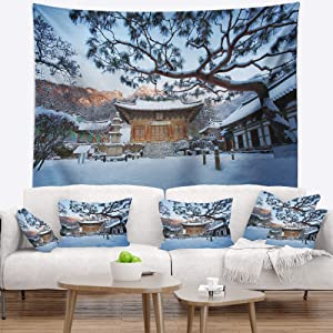 Designart ' Naesosa Temple in South Korea' Landscape Tapestry Blanket Décor Wall Art for Home and Office Large: 60