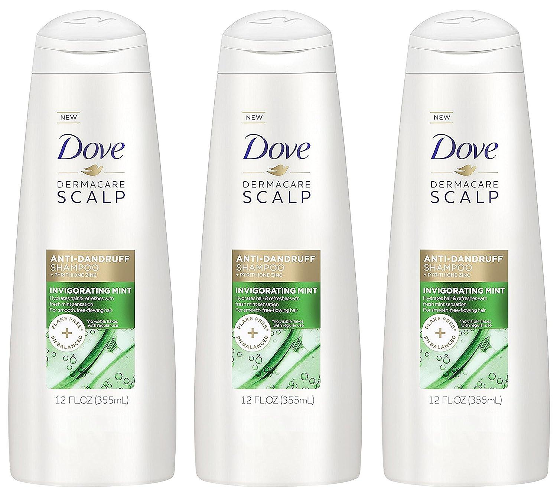Dove Dermacare Scalp - Anti-Dandruff Shampoo - Invigorating Mint - Net Wt. 12 FL OZ (355 mL) Per Bottle - Pack of 3 Bottles
