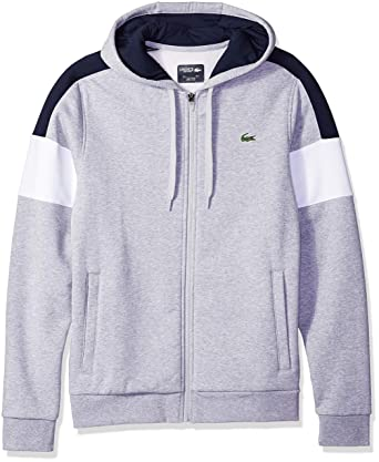 3c405cf7f1bf1c Amazon.com  Lacoste Men s Mixed Media Colorblock Hooded Sweatshirt ...