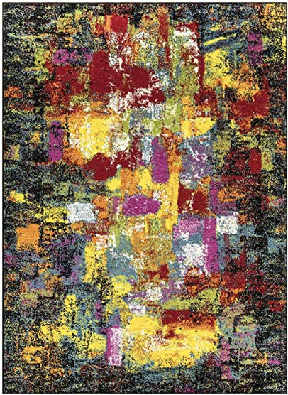 Queen Collection Multi Color Modern Abstract Area Rug