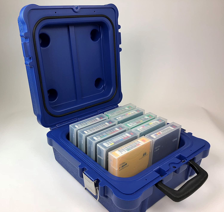 LTO/ RDX 10-Capacity Heavy Duty Turtle Case, 01-679103- Waterproof, ATA Certified, Blue