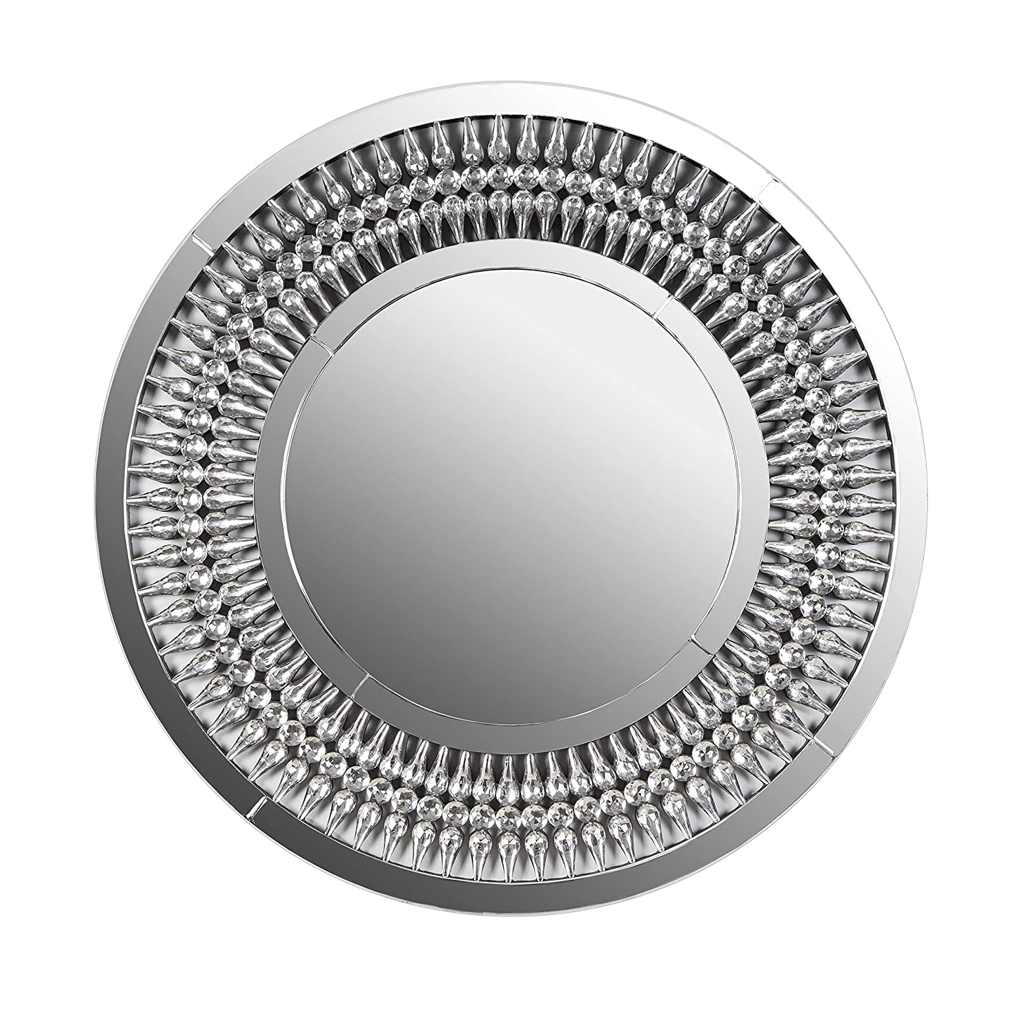 Bedroom Vanity Accent Mirror Makeup Hallway Marabell 31-Inch Round Large Wall Mirror Circular Bathroom