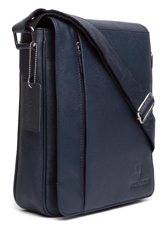 WildHorn Urban Edge Blue Safiano 100% Genuine Leather Messenger Bag  DIMENSION   L-10 inch W-2.5 inch H-11 inch  Amazon.in  Shoes   Handbags e2c803c00cb1a